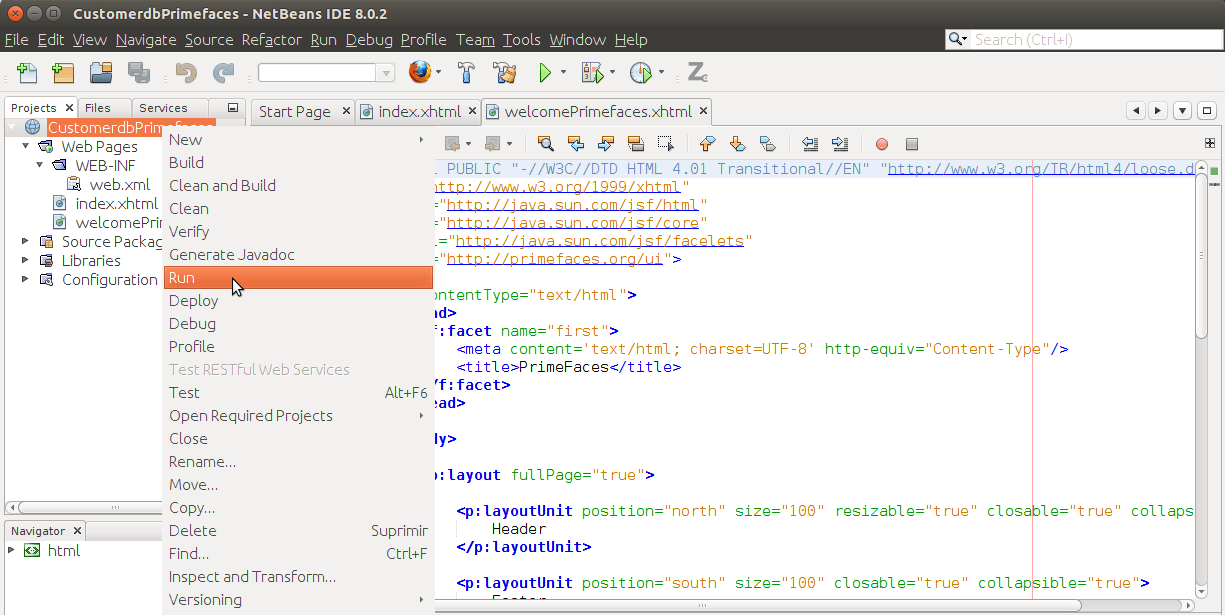 how to change servers in netbeans