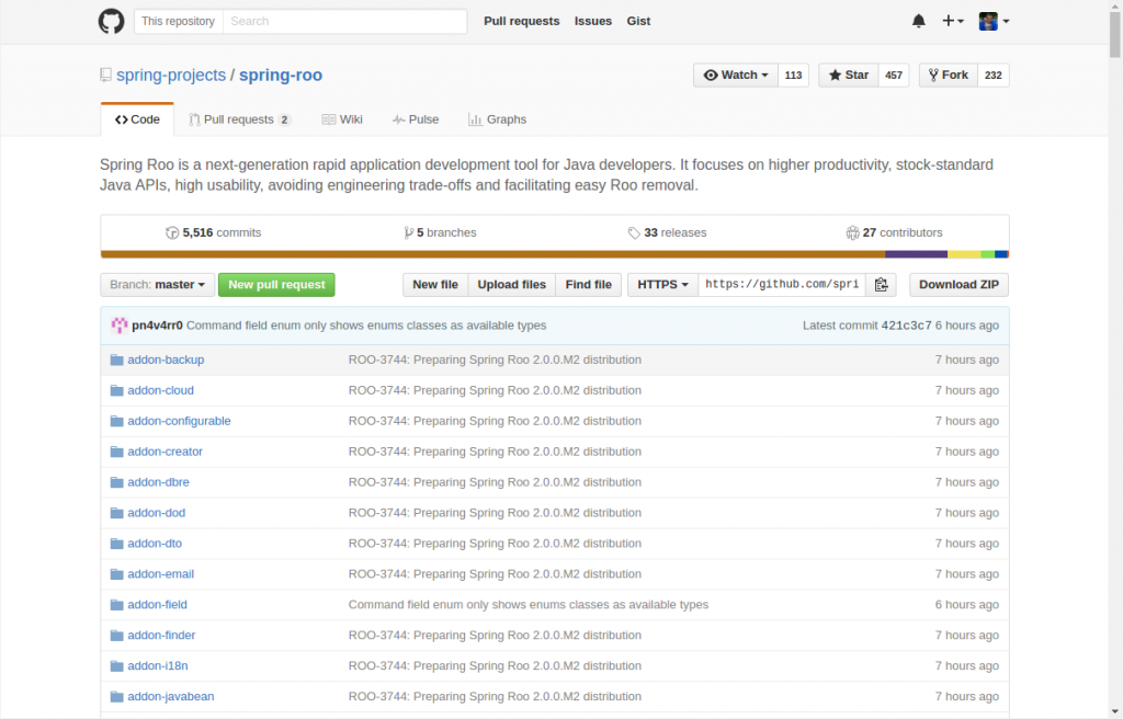 GitHub - Ejemplo del proyecto Spring Roo