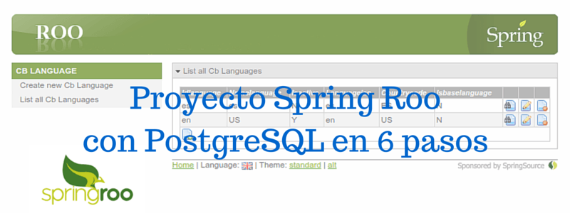 Spring Roo Ejemplo básico con PostgreSQLSpring Roo basic example with PostgreSQL